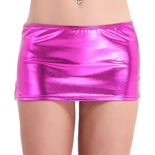 Tiaobug Damen Rock Wetlook sexy Mini Rock Skirt Figurbetont Strech Bleistiftrock PVC Leder Glänzend Pink oder Schwarz Clubwear Reizvolle Wäsche Einheitgröße Rose One Size