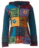 Michael Heinen Patchwork-Strickjacke | Hippie-Jacke | Modell Flower Power in Bunt | Damen | Goa-Jacket | Cutwork | Kapuzen-Sweatjacke | Individuell | Handarbeit aus Nepal