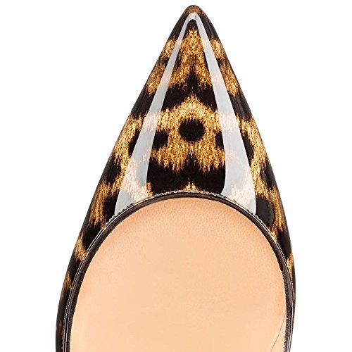 EDEFS - Chaussures - Escarpins Femmes - Talon Haut Aiguille - 120mm - Leopard - Fête Soiree Polished