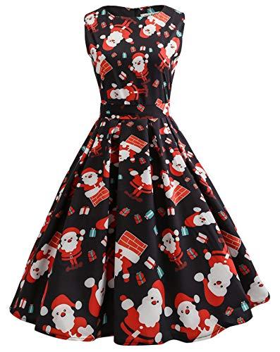 JIER Damen Weihnachten Ärmellos Party Kleid Frauen Drucken Rundhals Panel Kleid Großes Rundhals Weihnachtskleid Cocktailkleider Partykleid (Schwarz 3,XXX-Large)