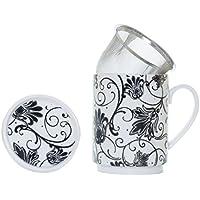 La Cija París Negro - Tisana de Porcelana con Filtro de Acero Inoxidable, Color Blanco