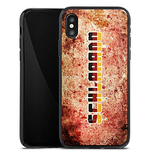 Apple iPhone X Silikon Hülle Case Schutzhülle Deutschland Fußball Germany Silikon Case schwarz