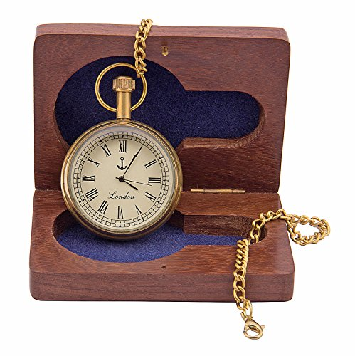 Kartique Vintage Style Golden finish pocket watch in Roman Numbers with chain | Antique Gandhi pattern