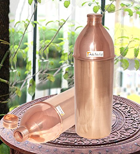 850 ML / 28.74 Oz - Set von 2 - Prisha Indien Craft ® Traveller's 100 % reines Kupfer Wasserflasche oder Thermoskanne für Ayurvedic Health Benefits - Wasserflaschen - Weihnachtsgeschenk
