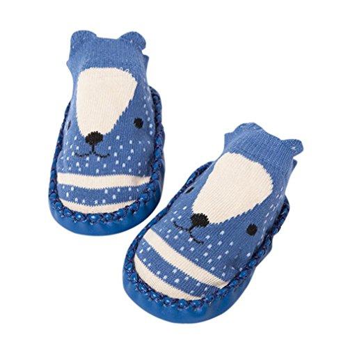 Janly Schuhe für 0-2 Jahre Baby, schöne Anti-Rutsch-Socken Slipper Neugeborenen Indoor Cartoon Tier Mokassins Stiefel Baumwolle Schuhe Junge Mädchen Socken (18-24 Monate, Navy) (Navy Bootsschuh Leder)