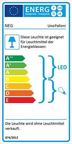 NEG Hängeleuchte UnoPalloni (28,5cm Kugel-Durchmesser) Deckenlampe aus Opalglas und Edelstahl - 2