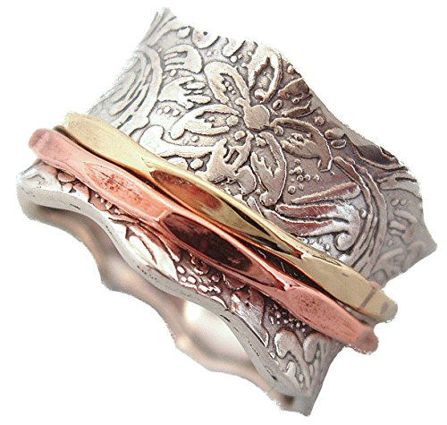 "Energy Stone ""BALANCE AND BEAUTY\"" Etched Floral Meditation Spinner Ring (Style 88) (8)"