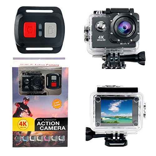 yaetek Action Kamera 4K Wifi Wasserdichte Sport Action Kamera HD 12MP Action Camcorder 170Grad Sony Objektiv mit 2Zoll LCD-Bildschirm, 2Akkus Li-Ion 19pcs Zubehör - 60 Sony Lcd-tv
