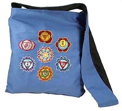 Schultertasche Chakras - blau mit Stickarbeit 7 Chakra 32 cm