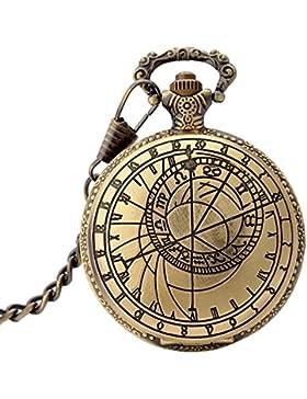 KAIKSO-IN Bronze antike Taschenuhr Kompass Form Quartz Ketten-Weinlese-Geschenk-Anhänger