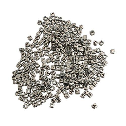 1000 X 8 mm Buchstabenperlen gemischt, aus Kunststoff mit Schlaufe von Kurtzy- Silber-Effekt-Farbe - großartig für Armband- und Halskettenherstellung ? perfekt für Erwachsene und Kinder