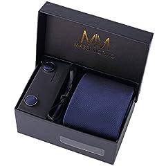 Idea Regalo - MASSI MORINO Uomo Designer Cravatta - Box Set con fazzoletto, Gemelli e Fermacravatta X cucita a mano in microfibra in colori assortiti - confezione regalo (blu scuro)