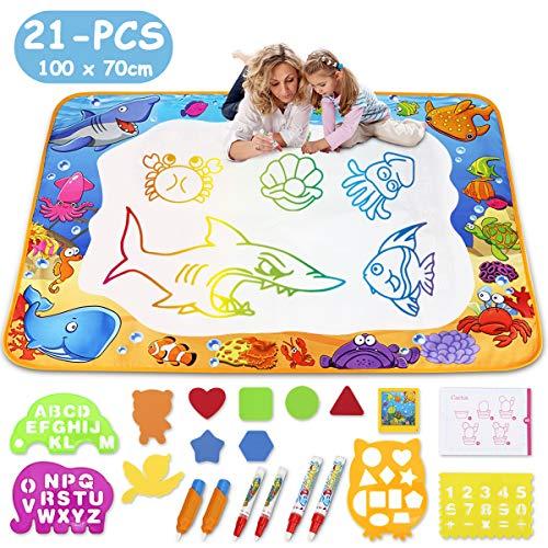 TOYK Aqua Magic Doodle Matte, Malmatte Mit Wasserstift,Wassermatte 100 x 70cm Spielzeug für Kinder Mädchen Jungen