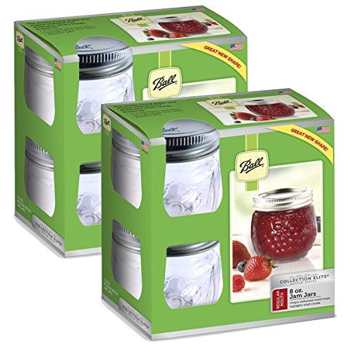 Ball Mason 113,4g gesteppt Jelly Gläser mit Deckel und baands, Set von 12, RM 8 Oz, farblos - Canning Salsa