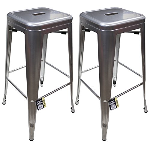 Marko Furniture Metal Breakfast Bar Stool Seat Chair Industrial Vintage Classic Style Kitchen (2, Silver)