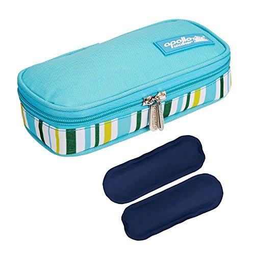 Diabetikertasche ONEGenug Kühltasche mit 2 Kühlakkus Insulin Tasche für Diabetes Spritzen, Insulininjektion und Medikamente 20x4x9cm (Leicht Blau + 2 Kühlakkus)