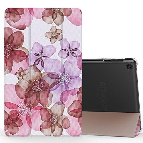 MoKo Hülle für Fire HD 8 2016 - Ultra Slim Lightweight Smart Cover mit Durchschaubar Rückseite Schutzhülle und Auto Schlaf / Wach Funktion für neue Fire HD 8 (6. Generation - 2016), Blumen Violett