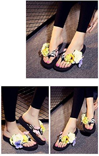Auspicious beginning Flip-flop antisdrucciolevoli della spiaggia del sandalo di estate delle donne con il fiore & la farfalla nero-2