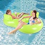 Mysida Inflatable Pool float Lettino Gonfiabile for Acqua Duo - Materasso for materassino for Lettino ad Aria for Piscina for Due Persone con Anello di Nuotata for Due Persone Luminoso e colorato