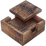 SouvNear Holz Untersetzer für Gläser - Handgefertigte Retro Holzuntersetzer mit 4 Quadratisch Untersetzern und Halter aus Holz