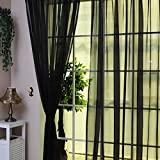 Fenster Vorhang Sheer, bunt, floral Tüll Voile Tür Vorhang Panels für Wohnzimmer, Voile Vorhang Panel (2, schwarz)