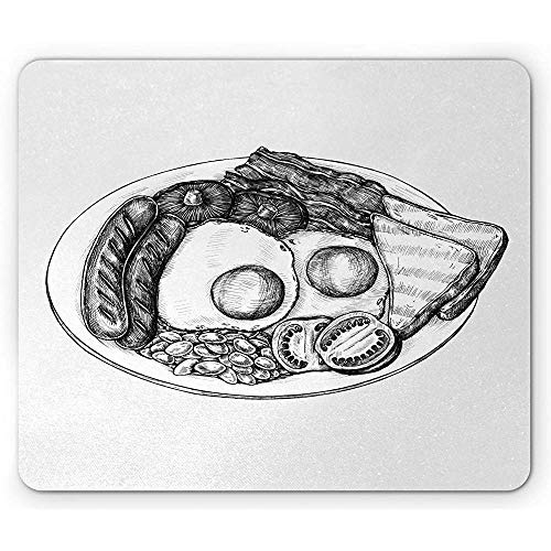 Holzkohlengraue Mausunterlage, Draufsicht-Bild von Briten-Frühstücks-Ei-Würstchen rösten Bohnen und Speck, rutschfestes Gummi-Mousepad