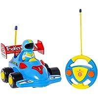 TONOR Voiture Télécommandée avec lumière et musique - RC Camion de Police/Course Jouet pour Enfants 3 ans et Bébés (Bleu)