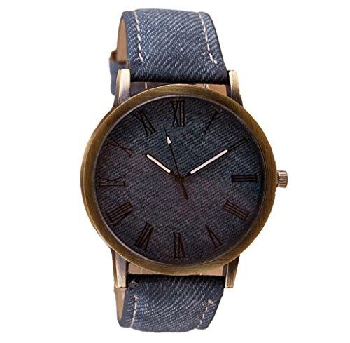 reloj de los hombres, FEITONG Vogue retro del reloj de vaquero Banda de cuero reloj de cuarzo analógico