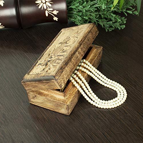 Christmas Gifts Landhaus Holz Schmuckschatulle Andenken Aufbewahrungsbox Organizer Mehrzweck mit von Hand geschnitzte Elefant Design