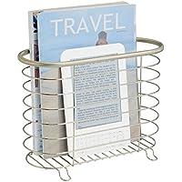 MetroDecor mDesign Revistero Independiente - El revistero Ideal para el baño, la Cocina o la Oficina - Estantería metálica para Libros y revistas - Color: Cromo