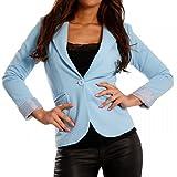 Damen Blazer aus leichter Baumwoll-Stretch-Qualität Business-Basic Kurzjacke , Farbe:Hellblau;Größe:38/M