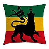 Rasta Throw Pillow Cushion Cover, Rastafarian Flag with Judah Lion on Reggae Music Inspired Decor Image, Decorative Squa