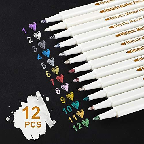 AUSYDE Metallic Marker Stifte, 12 Farben Metallischen Stift Pens für Kartenherstellung DIY Fotoalbum Gästebuch Hochzeit Papier Glas Töpferei, Highlight-Metallic Marker Stifte - FEINER Spitze (1 mm)