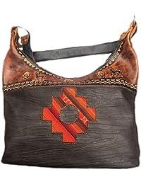 Alpacaandmore Schwarze City-Bag Leder Handtasche Ethno Look Inka Mastana Applikationen 35 x 30 cm