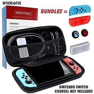 OffiCreative Nintendo Protective Switch Case & Travel Cover | Gewicht 10,5 x 5 x 2 Zoll schwarz gefärbt Nintendo Case mit kostenlosem Bundle aus 2 Silikon-Griffschalen, 2 Silikon-Thumbstick-Hüllen und 1 Erweiterungskarte als Geschenk
