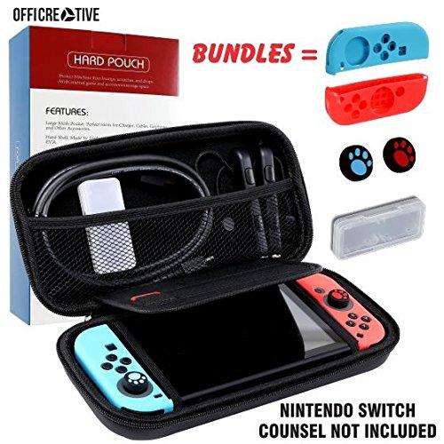 OffiCreative Nintendo Protective Switch Case & Travel Cover | Gewicht 10,5 x 5 x 2 Zoll schwarz gefärbt Nintendo Case mit kostenlosem Bundle aus 2 Silikon-Griffschalen, 2 Silikon-Thumbstick-Hüllen und 1 Erweiterungskarte als Geschenk (Tag Bag Reisetaschen)