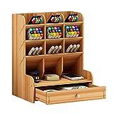 Organizer da scrivania in legno multifunzionale per cassetti, cancelleria, scrivania, portapenne per casa, ufficio e scuola Legno di ciliegio