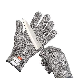 Yizhet Gants Anti-coupures Gants de Travail, Antidérapant Gant Cuisine, Haute Performance Niveau de Protection 5 Anti-Coupure Cuisine, Jardinage, Bricolage (Taille L)