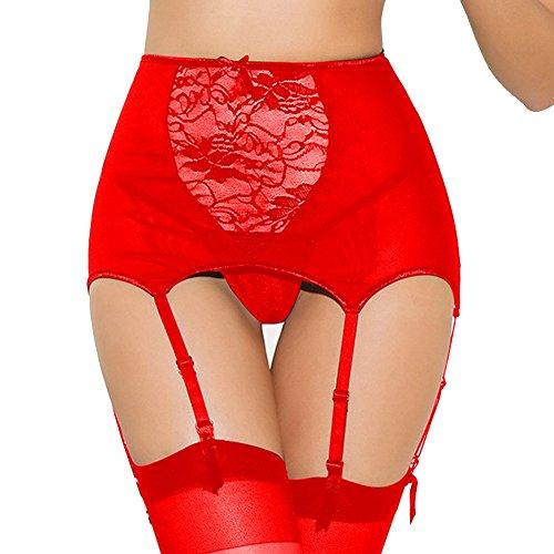 *Mangotree Damen Strapsgürtel Strapsstrümpfe Reizvolle Hoch-tailliert Aushöhlen Spitze Strumpfbänder Semi Sheer Strapsen mit G-String Übergröße*