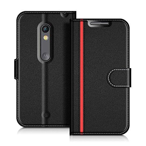 COODIO Motorola Moto X Play Hülle Leder Lederhülle Ledertasche Wallet Handyhülle Tasche Schutzhülle mit Magnetverschluss/Kartenfächer für Motorola Moto X Play, Schwarz/Rot