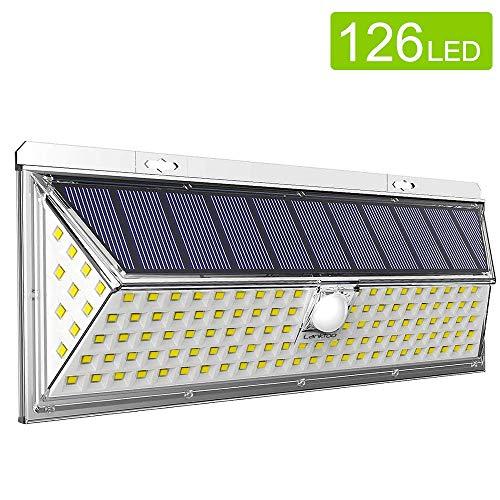 Solarleuchte für Außen, lanktoo 126 led Sehr helles Wandlicht, Großes Solarmodul, 270° Beleuchtungsbereich 3 Beleuchtungs-Stufen, Wasserfest, Sicherheits-Beleuchtung für Garten, Einfahrt