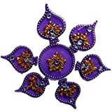 Handmade Elegantly Designed Purple Rangoli - With Paan Shape Design Decorated With Multicolour Stones And Beads On Purple Round Shaped Plastic Base - 7 Pieces Set - Packed In Transparent Pouch