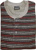 Herren Frottee Pyjama mit Knopfleiste, Gestreiftem Oberteil, Uni Hose, Schwarz, 59992, Gr. 50