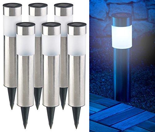 Lunartec Solar Gartenleuchten: 6er-Set Elegante Edelstahl-Solar-LED-Wegeleuchten, mit Lichtsensor (Solarlampen Garten)