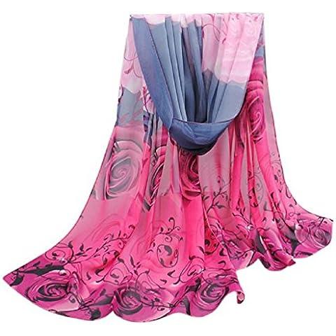 Bufandas para Mujer,Xinan Collar Hermosa Rose Patrón Bufanda Gasa Abrigos Mantón (Rosa Caliente)