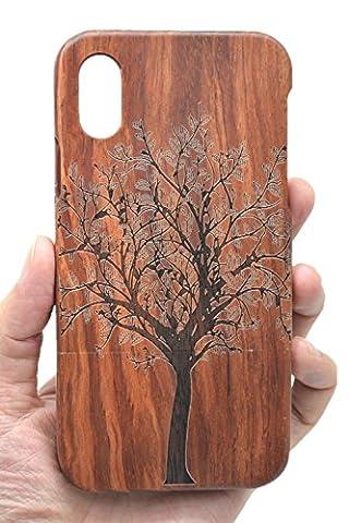 Holzsammlung® iPhone X Holzhülle - Palisander Weihnachtsbaum - NatürlicheHandgemachteBambus / Holz Schutzhülle für Ihr Smartphone