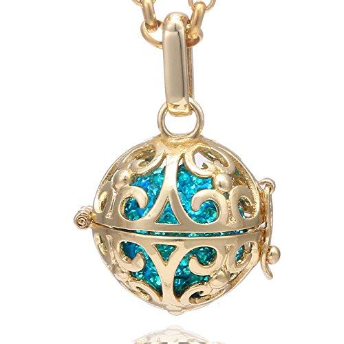 Morella Damen Halskette Edelstahl Gold 70 cm mit Ornament Anhänger Gold und Klangkugel Zirkonia türkis Ø 16 mm in Schmuckbeutel