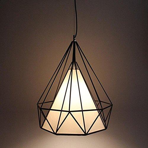 Suspensions Diamant lampe pendentif simple salon bar restaurant lumières industrielle rétro personnalité fer birdcage lustres, 25cm