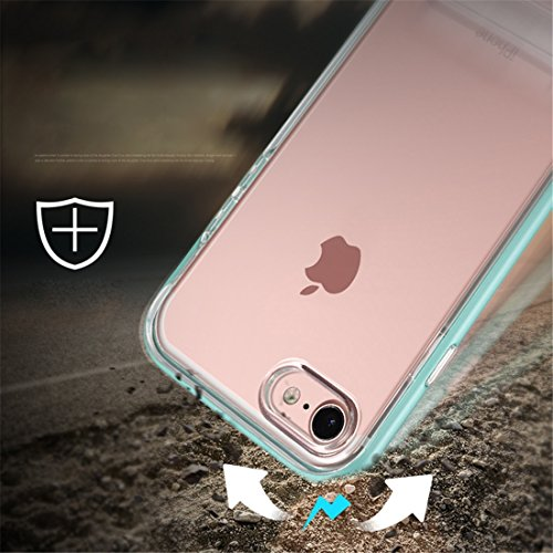 iPhone Case Cover Pour iPhone 7 TPU + PC Transparent Combinaison Back Cover cas avec support magnétique ( Color : Rose gold ) Rose gold