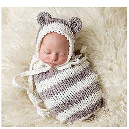 Sacco nanna per neonato fotografia puntelli Boy Girl crochet costume vestiti cappello